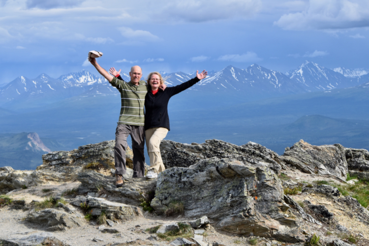 Retired couple on a mountain